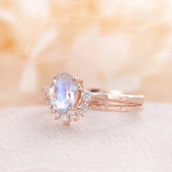 Rose gold plating 925 Sterling Silver Corte Oval Stacking Moonstone alguns toques