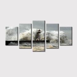 5 peças de arte a preto e branco as impressões de arte na parede de lona para decoração