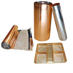 La fabrication de produit ignifuge rigide haute brillance Metalizid PVC Film d'or pour le mobilier décoratif