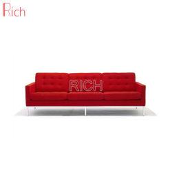 أثاث فندق حديث فلورانس نول مصمم من الجلد الأحمر 3 مقاعد أريكة