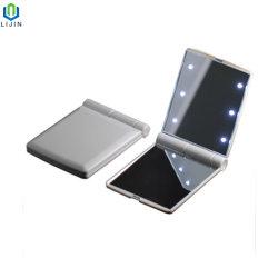 Складные поездки Pocket зеркало для макияжа с яркой светодиодной подсветкой