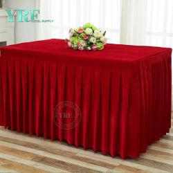 Fancy rectángulo rizó tabla terciopelo Falda plisada de Bodas Hotel Mantel bordeando