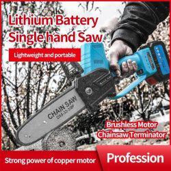 8インチは電気チェーンソー400W Makita 21V電池のための再充電可能なブラシレスモーター木工業のカッターの園芸工具を見た