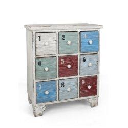 Antique branco pequeno armário de madeira com 9 gavetas coloridas