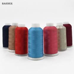De Draad van het Borduurwerk van het Rayon van de Polyester van de Draad 120d/2 van het Borduurwerk van de Gloeidraad van de polyester