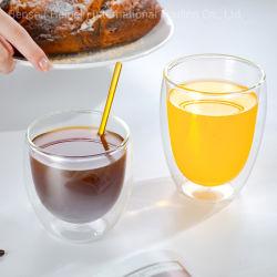 كوب زجاجي مزدوج أكواب من زجاج بوروسيليكات أكواب القهوة الكابوتشينو والكابوتشينو أواني زجاجية لكأس حليب القهوة