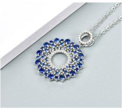 925 Original multa Sterling jóias de prata fixada com Gemstone Colar