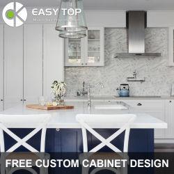 Buon prezzo membrana in PVC alla moda quarzo pietra blu e bianco Armadio da cucina White Shaker Armadi da cucina