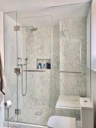 Receptáculo de ducha simple ducha Ducha ducha puertas con Nano tejido templado Vidrio Laminado de oro y de la Puerta de Bisagra de acero inoxidable negro manejar