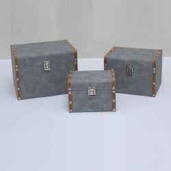 En simili-cuir Bouteille de vin en bois personnalisé enveloppé boîte cadeau