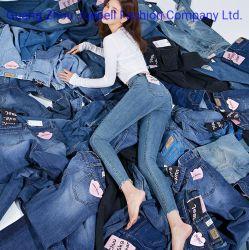 Jeans scarni del denim dei pantaloni delle ragazze MOQ delle alte donne su ordinazione basse della vita di alta qualità