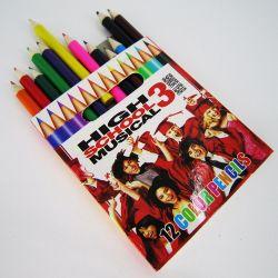 Bois de papeterie scolaire personnalisé 12 crayons de couleur définie pour les enfants