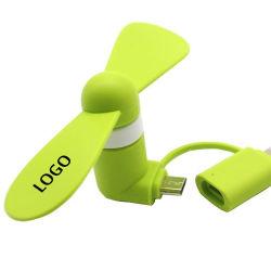 Micro USB portable haute qualité 2 en 1 du ventilateur de refroidissement du logo personnalisé Petit Mini mobile téléphone cellulaire pour Android iPhone de marque du ventilateur