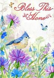 青い鳥の紫色の花のカスタム専門の昇華物の印刷のばねの庭のフラグ