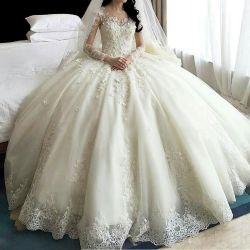 Hwd043 Wedding Dress Bridal Tailing 2021 nuovo pizzo di moda autunnale Manicotto lungo con spallamento