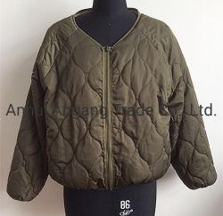 Дамы зимой ослабление двойные боковые Стеганая куртка обивки Collarless баранины