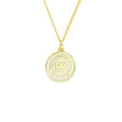 2021 أزياء العملات العملات المعدنية الجديدة نيكليس 925 الاسترليني فضة مجوهرات Customerize 14K ذهبي التخطيط