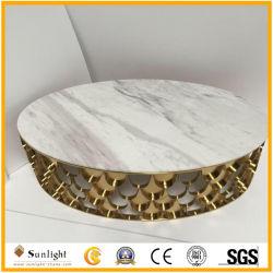 Populaire Ronde Witte Marmeren Koffietafel met het Frame van het Roestvrij staal