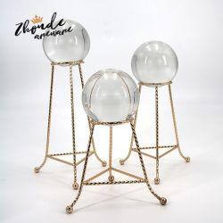 Bola de cristal transparente Fotografía Prop meditación esfera de vidrio de bola Mostrar Homewares decoración artesanía las bolas con el soporte de metal