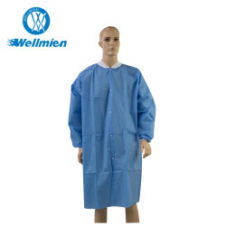 編まれたカラーおよび袖口が付いている使い捨て可能なSMSのNonwoven実験室のコート