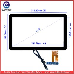 POS (точка продажи) сенсорный экран с диагональю 13,3 дюйма USB2.0 прогнозируемых емкостных сенсорных технологий
