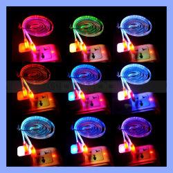 2.1A 5V à plat de nouilles Transparent Slim 12 lumière LED de couleur Câble USB pour iPhone / Samsung / Mac