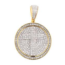 Grande Cruz Redondo 925 Pingentes de prata belas jóias