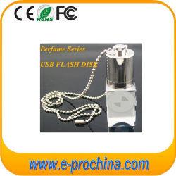 Elegante diseño de cristal de perfume de luz LED de forma una unidad flash USB