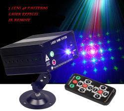 새로운 도착 Rg 3 렌즈 48 패턴 레이저 광 혼합 컬러 레이저 프로젝터 사운드 액티브 IR 리모컨 LED 스테이지 라이트