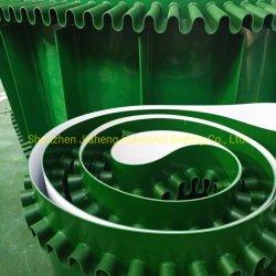 Grüne gewölbte Seitenwände Belüftung-Förderbänder mit Bügel-geneigtem Riemen