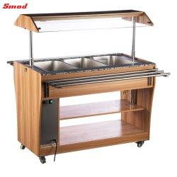Facilidad de montaje de madera color nogal más cálidos, mostrador de exposición de alimentos