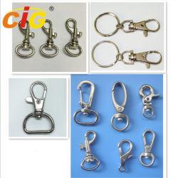 Пружинное стопорное застежка крюк Nickle оцинкованные омаров выступе поворотный застежками для кольца для ключей и выводы