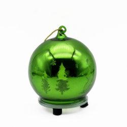 De groene Gegalvaniseerde Bal van het Flintglas als Ornamenten van Kerstmis