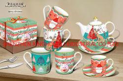 Großhandelsweihnachtsrote keramische Becher-Porzellan-Kaffeetasse für Hauptdekoration-und Feiertags-Geschenke