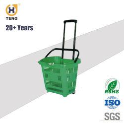 سلة تسوق بلاستيكية XJ-10 Supermarket مع مقبض وعجلات