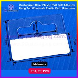 Claro personalizados PVC plástico e auto-adesivo Hang Tab plástico grosso Euro Gancho do Orifício