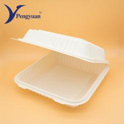 Hamburguesa de concha desechables biodegradables de fécula de maíz de contenedores de alimentos la fécula de maíz de verificación