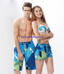 100% بوليستر تباين لون قصيرة حارّة فصل صيف شاطئ زوج لباس رجل لون موجة متكسّرة سباحة [شورتس]
