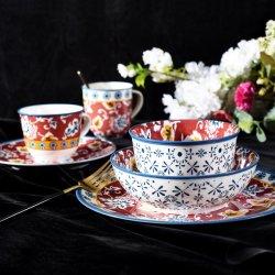 Dîner en porcelaine Ware vaisselle en céramique rouge&bleu de la vaisselle