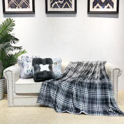 Schwarze Plaid und Solid 2pack Flanell Fleece Decke