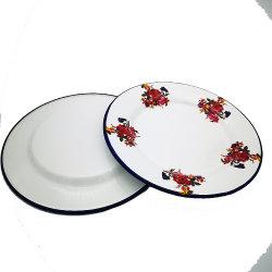 Piatti di frutta in metallo verniciati con fiori in acciaio smaltato di alta qualità Cena al Camping smalto