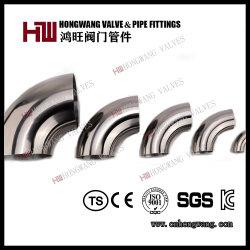 L'alimento sanitario 90d/45D dell'acciaio inossidabile ha saldato il gomito/curvatura uguale/breve accessorio per tubi del T (HW-FT 1002)