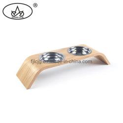 木のハンドメイドの木製の飼い犬の食糧猫ホームのための二重ボール表の皿