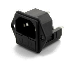 C14 AC ソケット電源プラグインレット、メス、エルクティカル IEC メディカル ヒューズホルダ付きコネクタ(ダブルヒューズ)