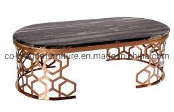 Großhandelshauptmöbel-Wohnzimmer-ovales GoldEdelstahl-Schwarz-Glaskaffee-Tee-Tisch