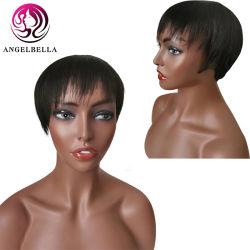 Brasil Angelbella corta recta Cabello pelucas para las mujeres 8 pulgadas de Verano Negro natural desgaste de la máquina completa pelucas hechas con Bang