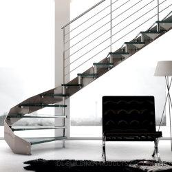 تصميم مخصص عصري معدني ستير من الفولاذ المقاوم للصدأ الزجاج/درجات من الخشب/الرخام سلم لولبي داخلي