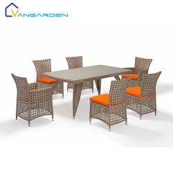 등나무 의자와 테이블 세트를 식사하는 옥외 정원 Retaurant를 길쌈하는 7PCS 다이아몬드