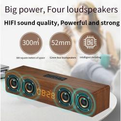 Alto-falante Bluetooth de madeira W8C 3D HiFi Retro Altifalantes duplos de alto-falantes sem fio Bluetooth com caixa de som Mãos Livres TF em pausa