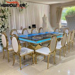 호화스러운 금 스테인리스 프레임 유리제 상단 LED 가벼운 결혼식 테이블